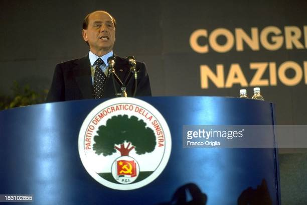 Former Prime Minster Silvio Berlusconi holds a speech during a National Congress of the opponent party 'Partito Democratico della Sinistra' on July 8...