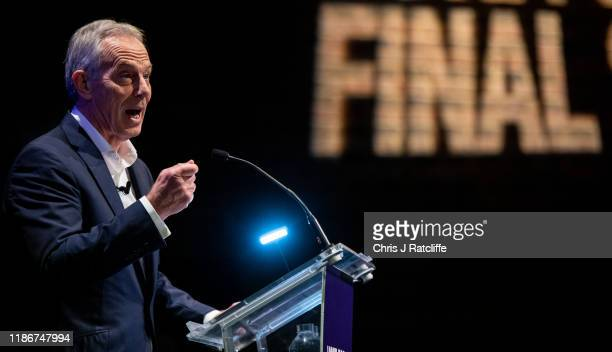 """Former Prime Minster Tony Blair speaks at a """"Vote for a Final Say"""" rally about Brexit and the upcoming general election on December 6, 2019 in..."""