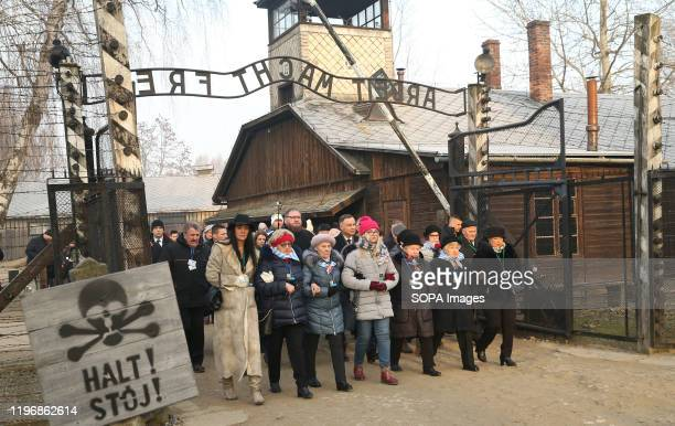 Former prisoners of the Auschwitz-Birkenau concentration camp attend the anniversary in Oswiecim. 75th anniversary of Auschwitz liberation and...
