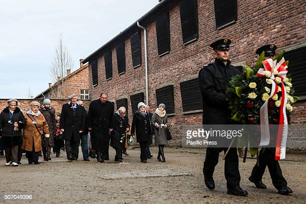 Former prisoners visit camp Auschwitz I during the 71st anniversary event commemorating the liberation of the German Nazi concentration and...