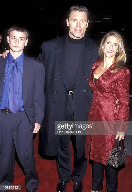 Former Pro Football Player/NFL Analyst Howie Long wife Diane Addonizio son Christopher Long attend the 'Firestorm' Westwood Premiere on January 7...