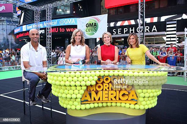 Former pro James Blake gives tennis tips on the GOOD MORNING AMERICA tennis court in Times Square, 9/3/15, airing on the Walt Disney Television via...