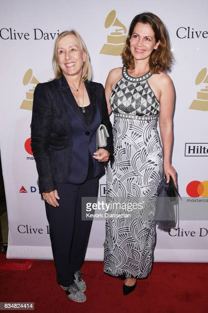 Former pro tennis player Martina Navratilova and Julia Lemigova attend PreGRAMMY Gala and Salute to Industry Icons Honoring Debra Lee at The Beverly...