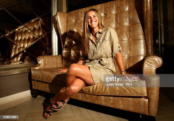 Former professional American soccer player Brandi Chastain poses for a Portrait at the St Regis Hotel on August 25 2010 in Singapore Singapore