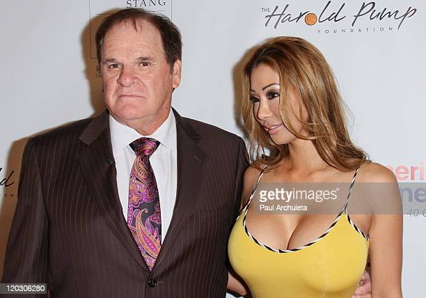 Former Professional Athlete Pete Rose and Kiana Kim arrive at the 11th annual Harold Pump Foundation Gala at the Hyatt Regency Century Plaza on...
