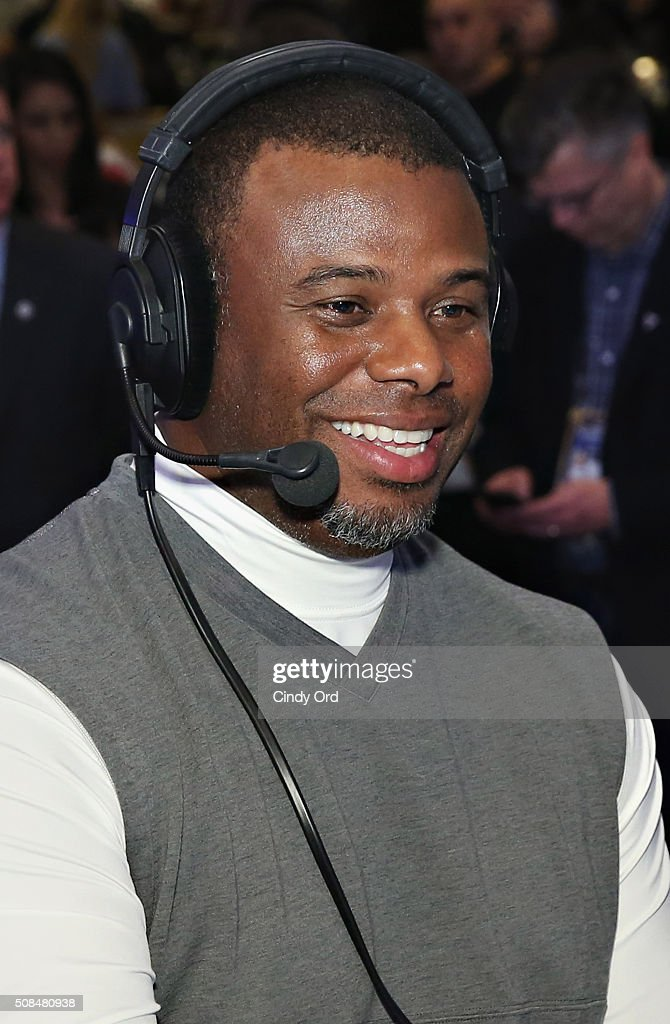 Former professional baseball player Ken Griffey Jr. visits the SiriusXM set at Super Bowl 50 Radio Row at the Moscone Center on February 4, 2016 in San Francisco, California.