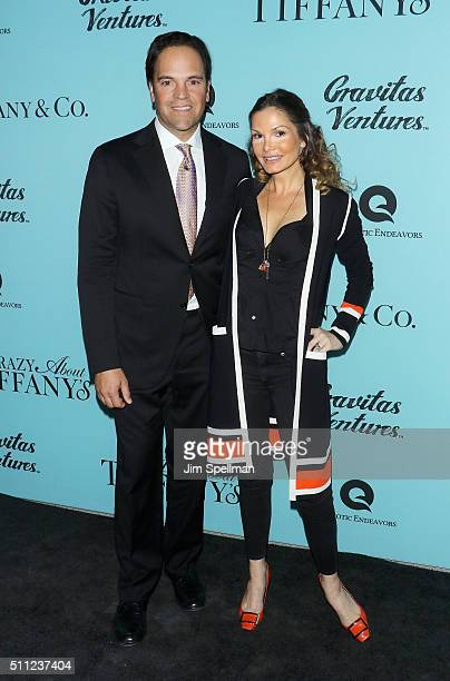 Former professional baseball player Mike Piazza and actress Alicia Rickter attend the 'Crazy About Tiffany's' New York premiere at American Museum of...