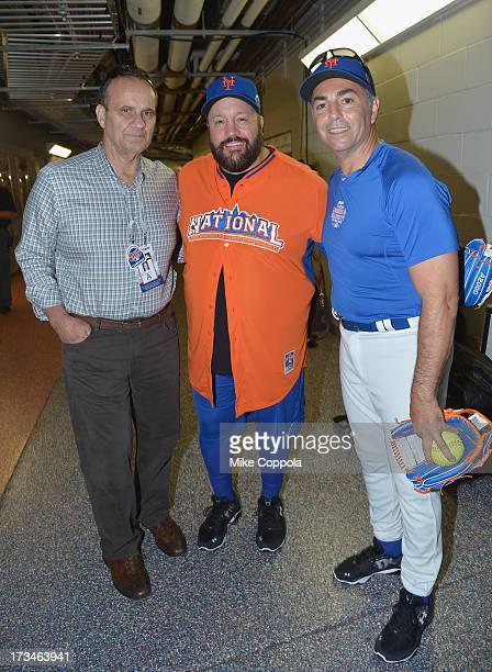 Former professional baseball player/manager Joe Torre actor/comedian Kevin James and former professional baseball player John Franco attend the Taco...