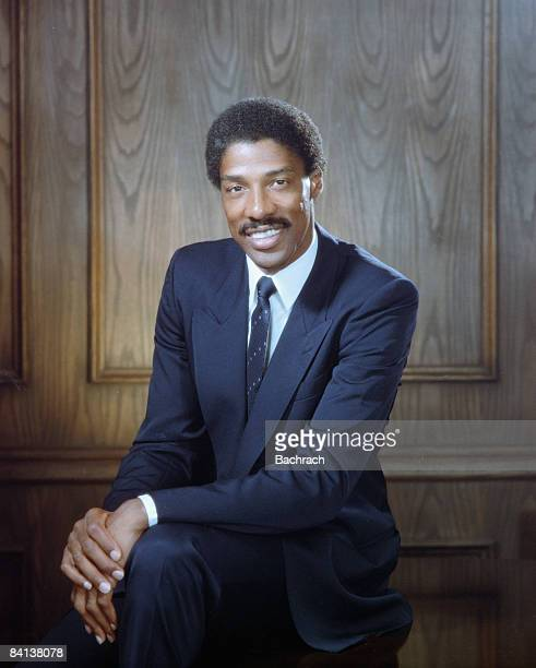 Former professional basketball player Julius Winfield Erving II aka Dr J of the Philadelphia 76ers smiles while posing for a portrait 1984...