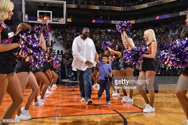 Former professional basketball player Oliver Miller honored during halftime on January 12 2018 at Talking Stick Resort Arena in Phoenix Arizona NOTE...