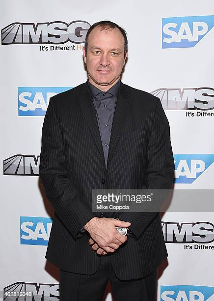 Former professional basketball player Stephane Matteau attends MSG Networks Original Programming Party at Madison Square Garden on February 5 2015 in...