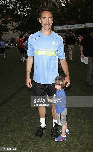Former Professional Basketball Player Steve Nash and son Matteo Joel Nash attend The Sixth Edition Steve Nash Foundation Showdown at Sarah D...