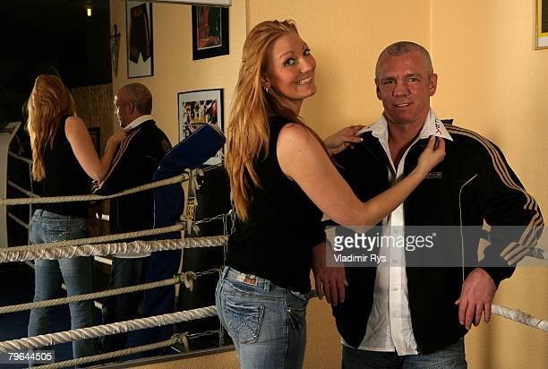 Former professional boxer Graciano 'Rocky' Rocchigiani and his girlfriend JuanaSonia Petuchow pose for a photo during a photosession to promote his...
