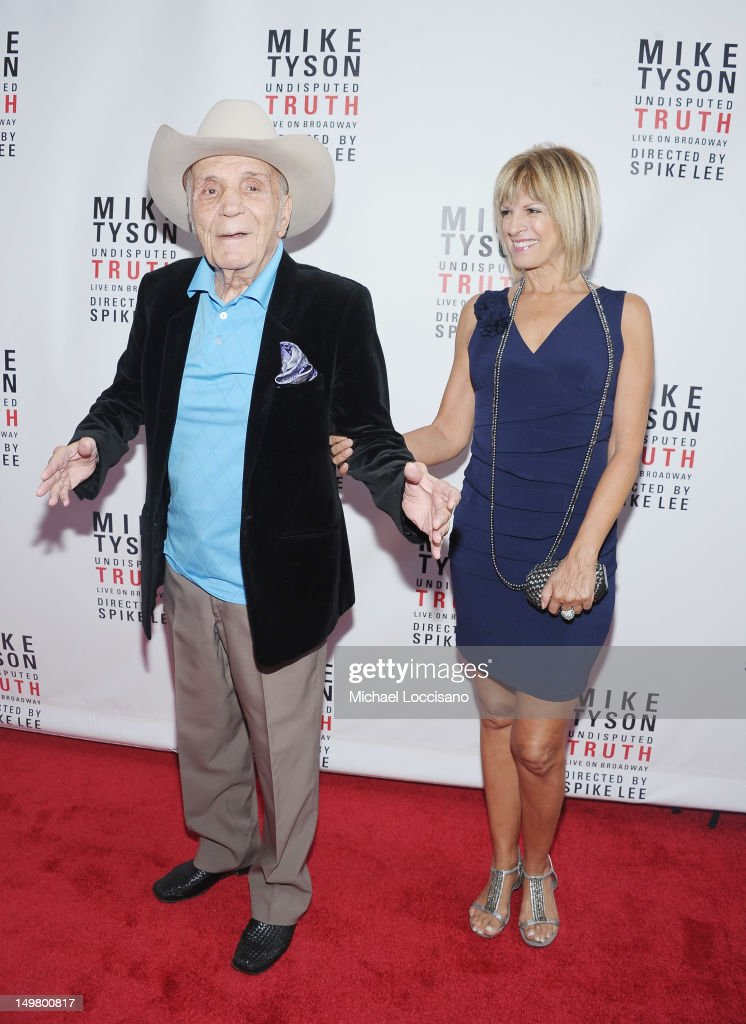 Former Professional Boxer Jake LaMotta and his fiancee Denise Baker attend the 'Mike Tyson: Undisputed Truth' Broadway Opening Night at Longacre Theatre on August 2, 2012 in New York City.