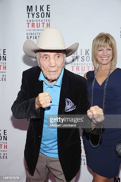 Former Professional Boxer Jake LaMotta and his wife Denise Baker attend the Mike Tyson Undisputed Truth Broadway Opening Night at Longacre Theatre on...
