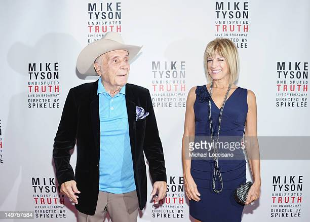 Former Professional Boxer Jake LaMotta and his wife Denise Baker attend the 'Mike Tyson Undisputed Truth' Broadway Opening Night at Longacre Theatre...