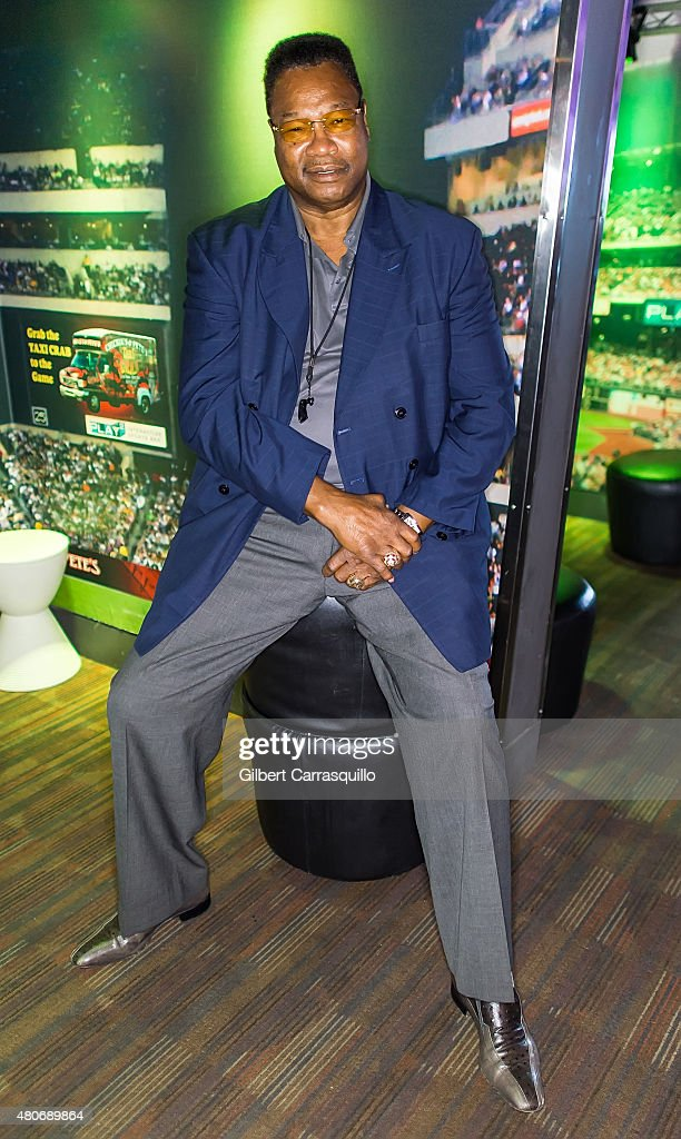 Former professional boxer Larry Holmes aka The Easton Assassin attends fan meet and greet at Chickie's and Pete's on July 14, 2015 in Philadelphia, Pennsylvania.