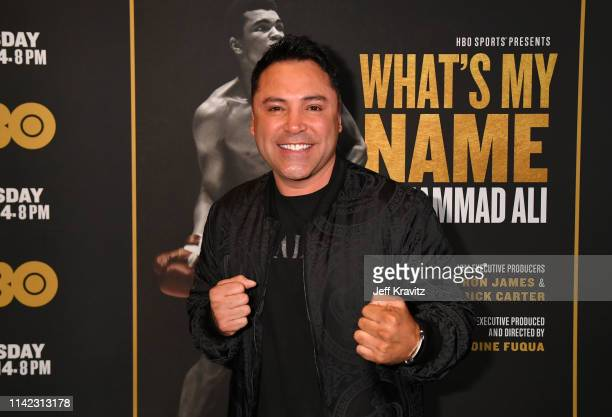 """Former professional boxer Oscar de la Hoya attends the Los Angeles Premiere of """"What's My Name 
