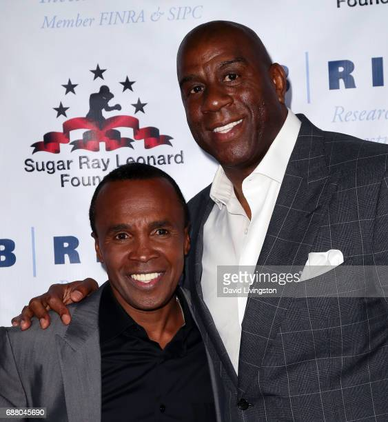 Former professional boxer Sugar Ray Leonard and former professional basketball player Magic Johnson attend the 8th Annual 'Big Fighters Big Cause'...