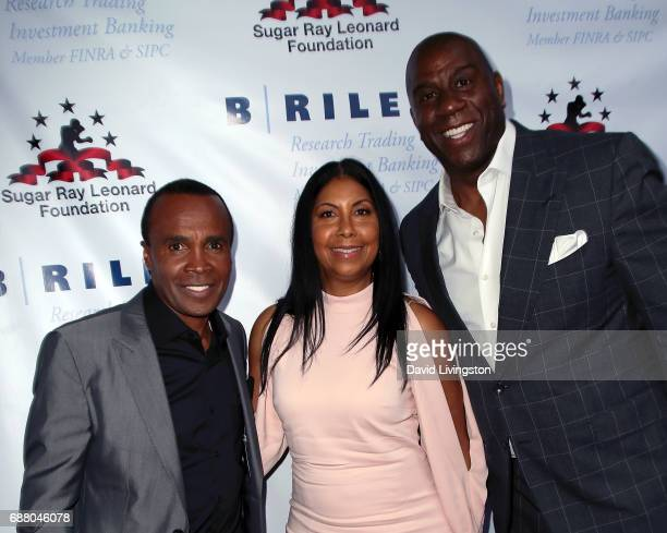 Former professional boxer Sugar Ray Leonard Earlitha 'Cookie' Kelly and former professional basketball player Magic Johnson attend the 8th Annual Big...