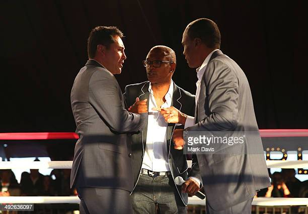Former professional boxers Oscar de la Hoya Sugar Ray Leonard and actor/comedian Tommy Davidson attend the B Riley Co and Sugar Ray Leonard...