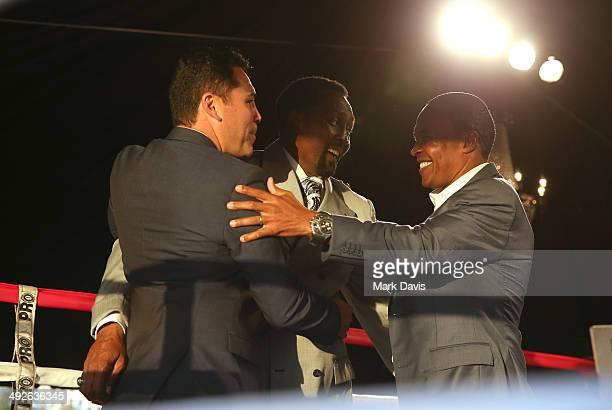 Former professional boxers Oscar de la Hoya Thomas Hearns and Sugar Ray Leonard attend the B Riley Co and Sugar Ray Leonard Foundation's 5th Annual...