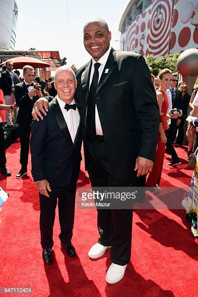 Former professional figure skater Scott Hamilton and former NBA player Charles Barkley attend the 2016 ESPYS at Microsoft Theater on July 13 2016 in...