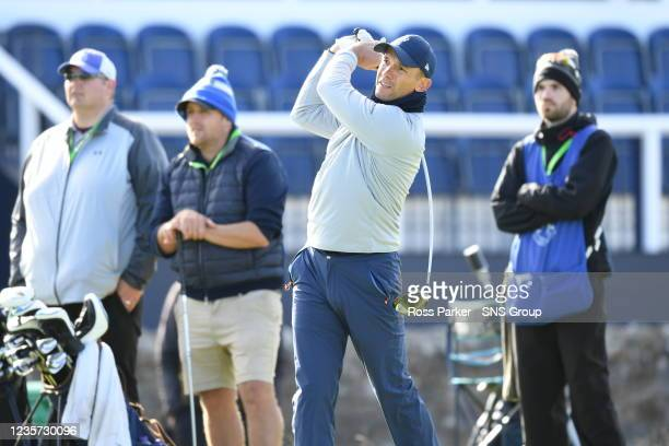 Former professional footbaler Andriy Shevchenko tee's off during the Alfred Dunhill Links Championship Practice Day at the Old Course, on Sepetember...