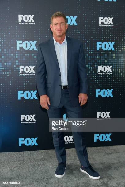 Former professional football player and commentator Troy Aikman attends the 2017 FOX Upfront at Wollman Rink on May 15 2017 in New York City