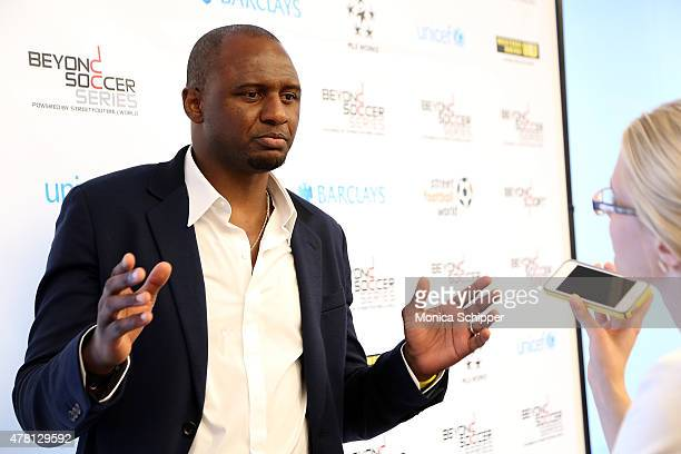 Former professional football player and Western Union Pass Ambassador Patrick Vieira speaks with press at the Beyond Soccer Series Powered By...