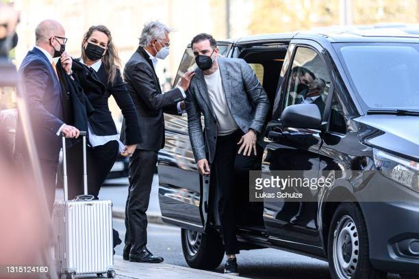 Former professional football player Christoph Metzelder arrives for the first day of his trial on charges of possessing and distributing child...
