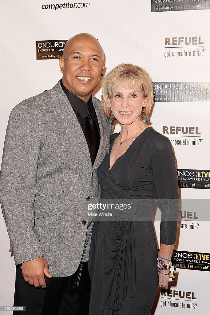 Former professional football player, Hines Ward (L) and eight-time IRONMAN World Championship winner, Paula Newby-Fraser at the 21st Annual endurance LIVE awards gala in Los Angeles. Ward launched the hotly anticipated BECOME ONE online documentary series that follows him and the three contest winners as they train for the most revered, yet challenging one-day endurance event on the planet: the 2013 IRONMAN World Championship. Former professional football player, Hines Ward eight-time IRONMAN World Championship winner, Paula Newby-Fraser at the 21st Annual Endurance LIVE awards Club Nokia on Februrary 23, 2013 in Los Angeles, California
