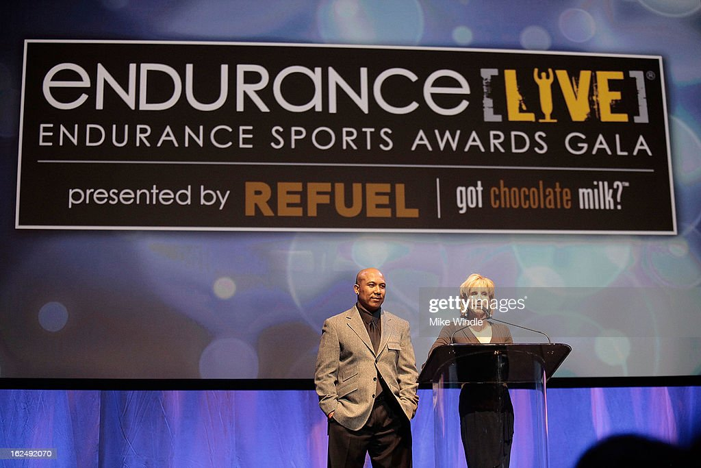 Former professional football player, Hines Ward (L) and eight-time IRONMAN World Championship winner, Paula Newby-Fraser at the 21st Annual endurance LIVE awards gala in Los Angeles. Ward launched the hotly anticipated BECOME ONE online documentary series that follows him and the three contest winners as they train for the most revered, yet challenging one-day endurance event on the planet: the 2013 IRONMAN World Championship. Former professional football player, Hines Ward and eight-time IRONMAN World Championship winner, Paula Newby-Fraserat the 21st Annual Endurance LIVE awards Club Nokia on Februrary 23, 2013 in Los Angeles, California.