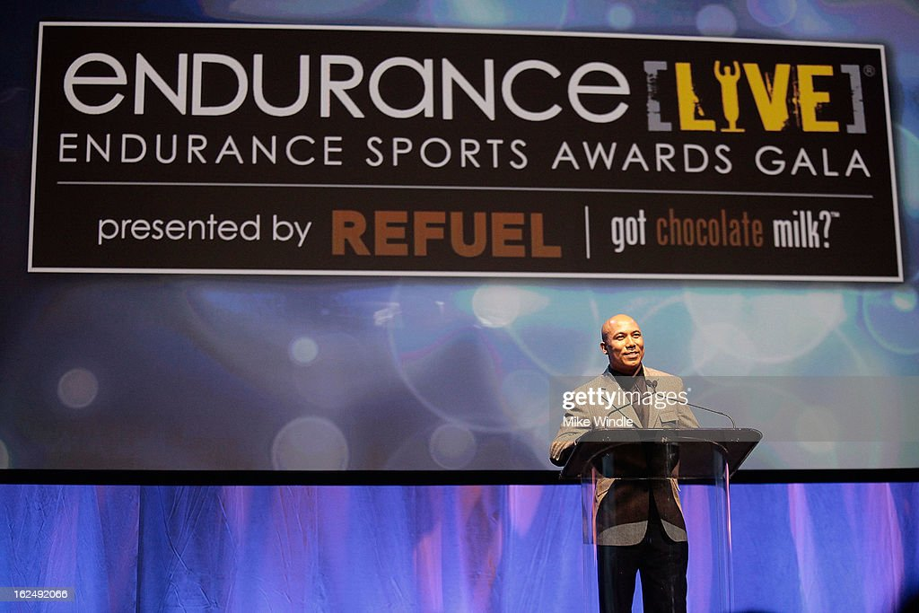 Former professional football player, Hines Ward at the 21st Annual endurance LIVE awards gala in Los Angeles. Ward launched the hotly anticipated BECOME ONE online documentary series that follows him and the three contest winners as they train for the most revered, yet challenging one-day endurance event on the planet: the 2013 IRONMAN World Championship. Former professional football player, Hines Ward at the 21st Annual Endurance LIVE awards Club Nokia on Februrary 23, 2013 in Los Angeles, California.