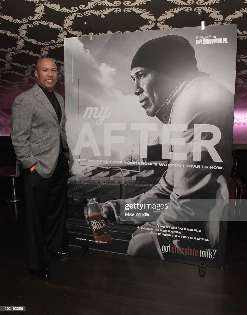 Former professional football player, Hines Ward at the 21st Annual Endurance LIVE awards gala in Los Angeles where he unveiled his new REFUEL   got chocolate milk? 'my After' national advertising campaign as well as the hotly anticipated BECOME ONE online documentary series that follows his training and recovery journey towards conquering the IRONMAN World Championship in Kailua-Kona, Hawaii on October 12, 2013. Former professional football player, Hines Ward at the 21st Annual Endurance LIVE awards Club Nokia on Februrary 23, 2013 in Los Angeles, California.