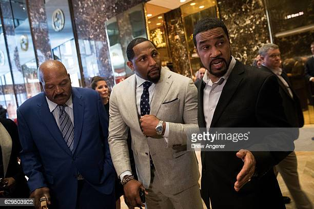 Former professional football player Jim Brown former professional football player Ray Lewis and Pastor Darrell Scott speak to reporters at Trump...