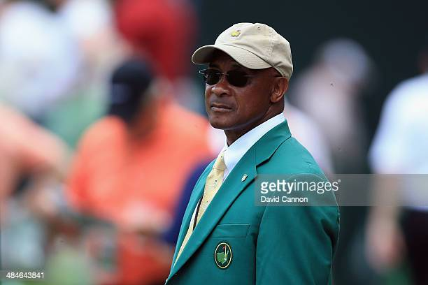 Former professional football player Lynn Swann during the final round of the 2014 Masters Tournament at Augusta National Golf Club on April 13 2014...