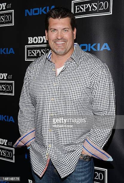 Former professional football player Mark Schlereth arrives at ESPN The Magazine 4th Annual Body Issue Party at Belasco Theatre on July 10 2012 in Los...