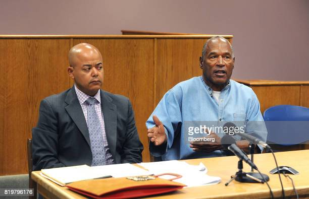 Former professional football player OJ Simpson right speaks during a parole hearing at Lovelock Correctional Center in Lovelock Nevada US on Thursday...