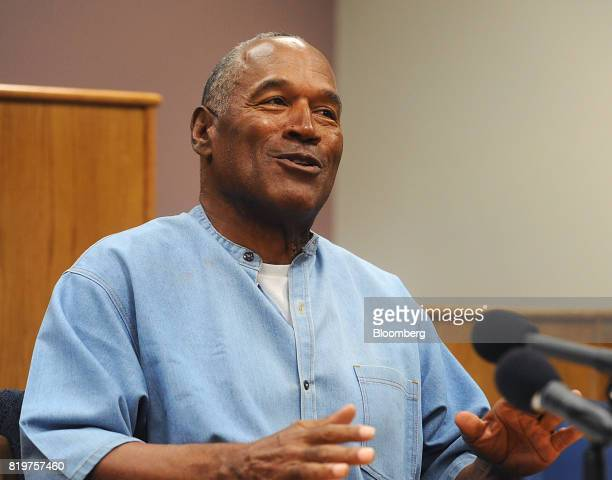 Former professional football player OJ Simpson speaks during a parole hearing at Lovelock Correctional Center in Lovelock Nevada US on Thursday July...