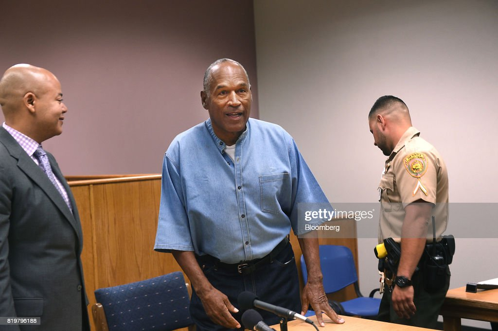 Former professional football player O.J. Simpson, stands after a parole hearing at Lovelock Correctional Center in Lovelock, Nevada, U.S., on Thursday, July 20, 2017. Simpson has been granted parole nine years into a 33-year sentence and could be released as soon as Oct. 1. Photographer: Jason Bean/Pool via Bloomberg