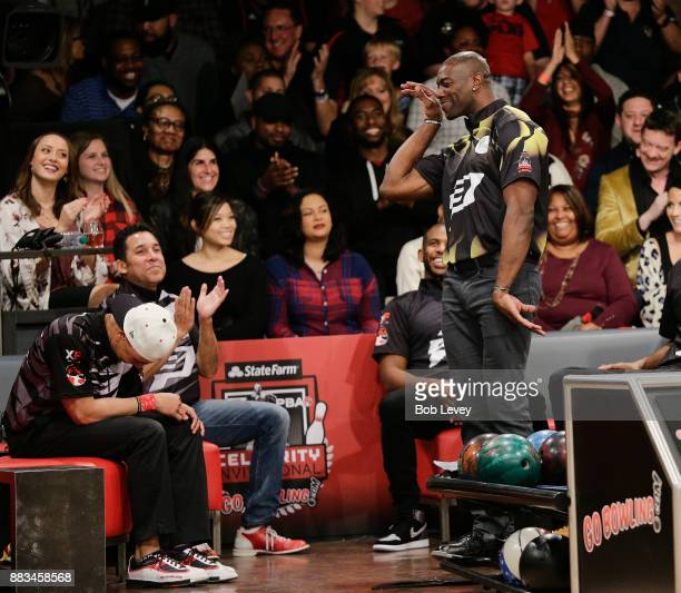 Former professional football player Terrell Owens attends the State Farm Chris Paul PBA Celebrity Invitational at the Bowlero Woodlands on November...