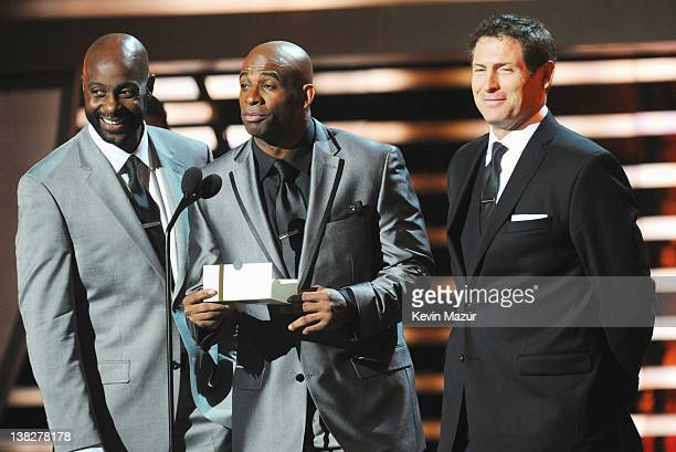 Former Professional Football Players Jerry Rice Deon Sanders and Steve Young speak during the 2012 NFL Honors at the Murat Theatre on February 4 2012...