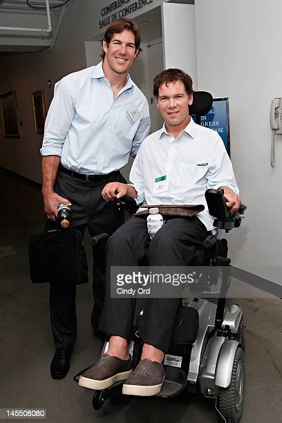 Former professional football players Scott Fujita and Steve Gleason attend the Social Innovation Summit 2012 at United Nations Plaza on May 31 2012...