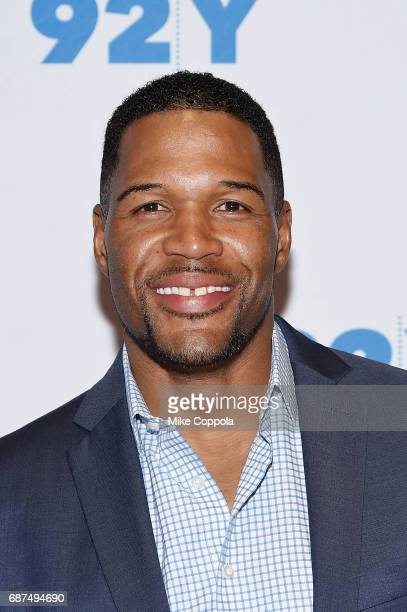 Former Professional Football player/television personality Michael Strahan poses for a photo at 92nd Street Y Presents Jamie Foxx In Conversation...