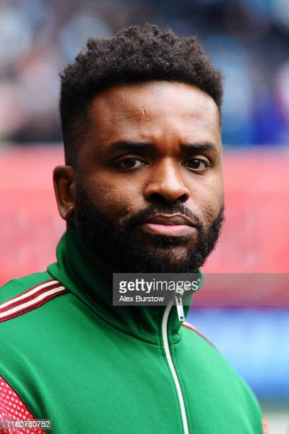 Former professional footballer Darren Bent looks on pitch-side prior to the NFL match between the Carolina Panthers and Tampa Bay Buccaneers at...