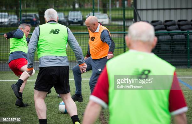 Former professional footballer Phil Neal taking part in a session of walking football at Anfield Sports and Community Centre in Liverpool. The...