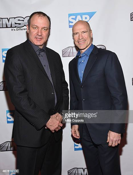 Former professional hockey players Stephane Matteau and Mark Messier attend MSG Networks Original Programming Party at Madison Square Garden on...