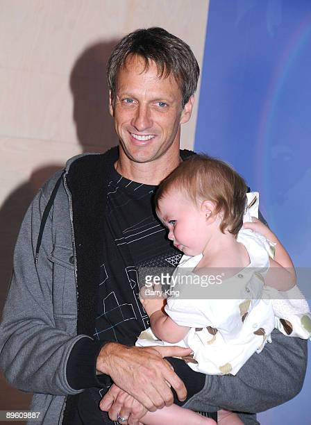 Former professional skateboarder Tony Hawk with his daughter Kadence Clover Hawk attend the unveiling of his wax figure at Madame Tussauds Hollywood...