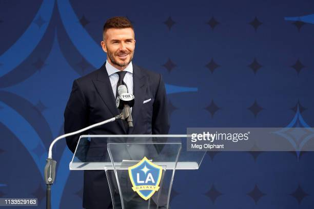 Former professional soccer midfielder David Beckham speaks at the unveiling of his statue at Dignity Health Sports Park on March 02 2019 in Carson...